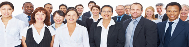 Group of successful business executives smiling over white